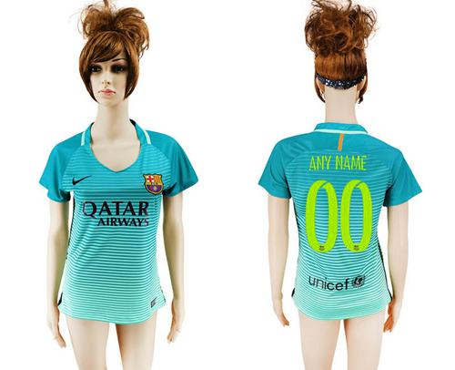 Women's Barcelona Personalized Sec Away Soccer Club Jersey