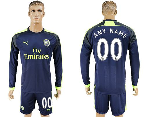 Arsenal Personalized Sec Away Long Sleeves Soccer Club Jersey