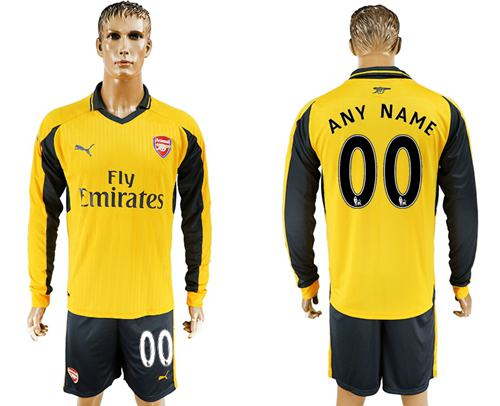 Arsenal Personalized Away Long Sleeves Soccer Club Jersey