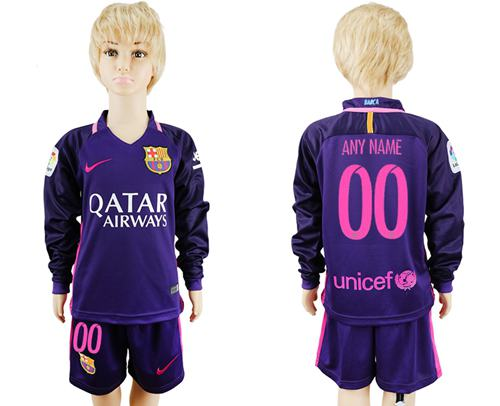 Barcelona Personalized Away Long Sleeves Kid Soccer Club Jersey