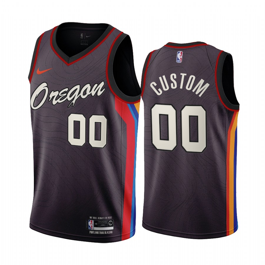 Men's Portland Trail Blazers Coffee Customized City Edition Stitched NBA Jersey