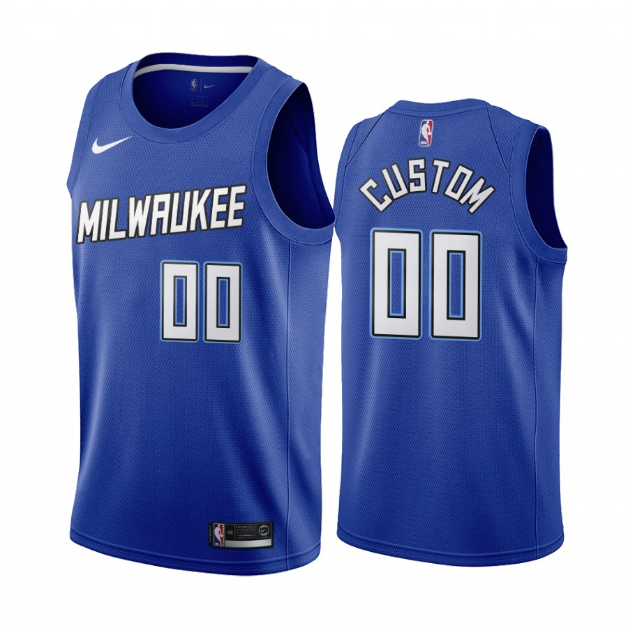 Men's Milwaukee Bucks 2020 Blue City Edition Customized Stitched NBA Jersey