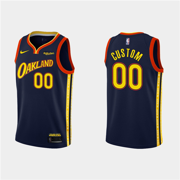 Men's Golden State Warriors Navy Customized City Edition Stitched NBA Jersey