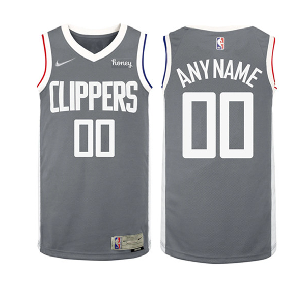 Los Angeles Clippers Customized Gray Earned Edition Stitched NBA Jersey