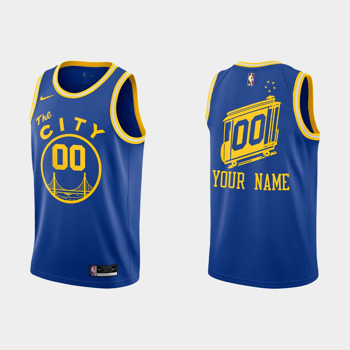 Men's Golden State Warriors Blue Customized 2020-21 Hardwood Classics Stitched NBA Jersey