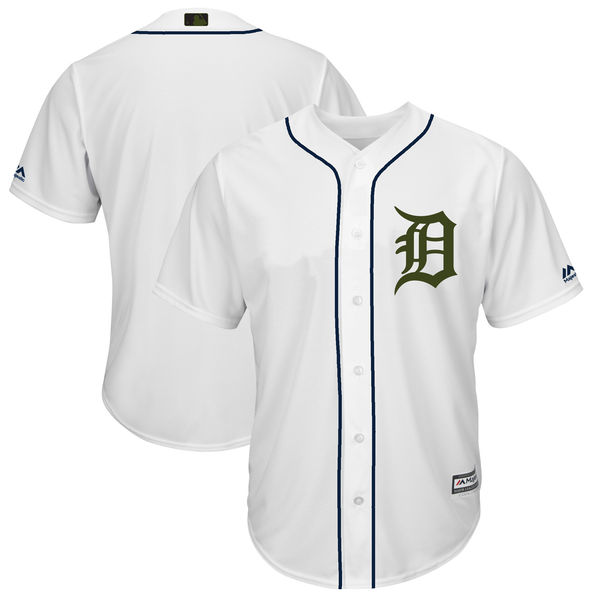 Men's Detroit Tigers Blank White 2018 Memorial Day Cool Base Stitched MLB Jersey