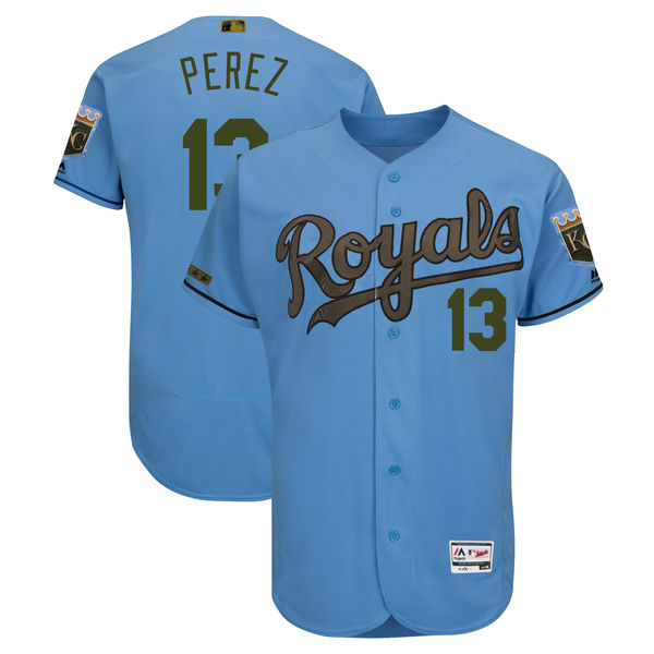 Men's Kansas City Royals #13 Salvador Perez Blue 2018 Memorial Day Flexbase Stitched MLB Jersey