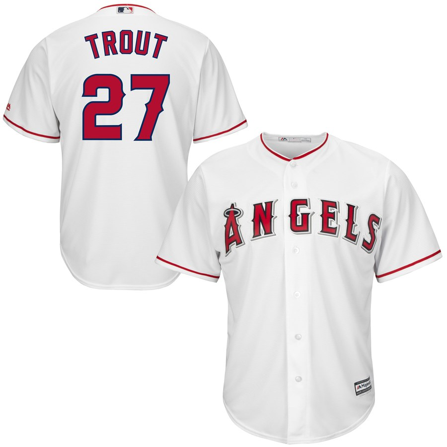 Men's Los Angeles Angels #27 Mike Trout White Cool Base Stitched MLB Jersey