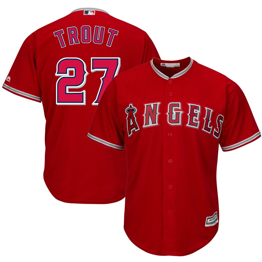 Men's Los Angeles Angels #27 Mike Trout Red Cool Base Stitched MLB Jersey