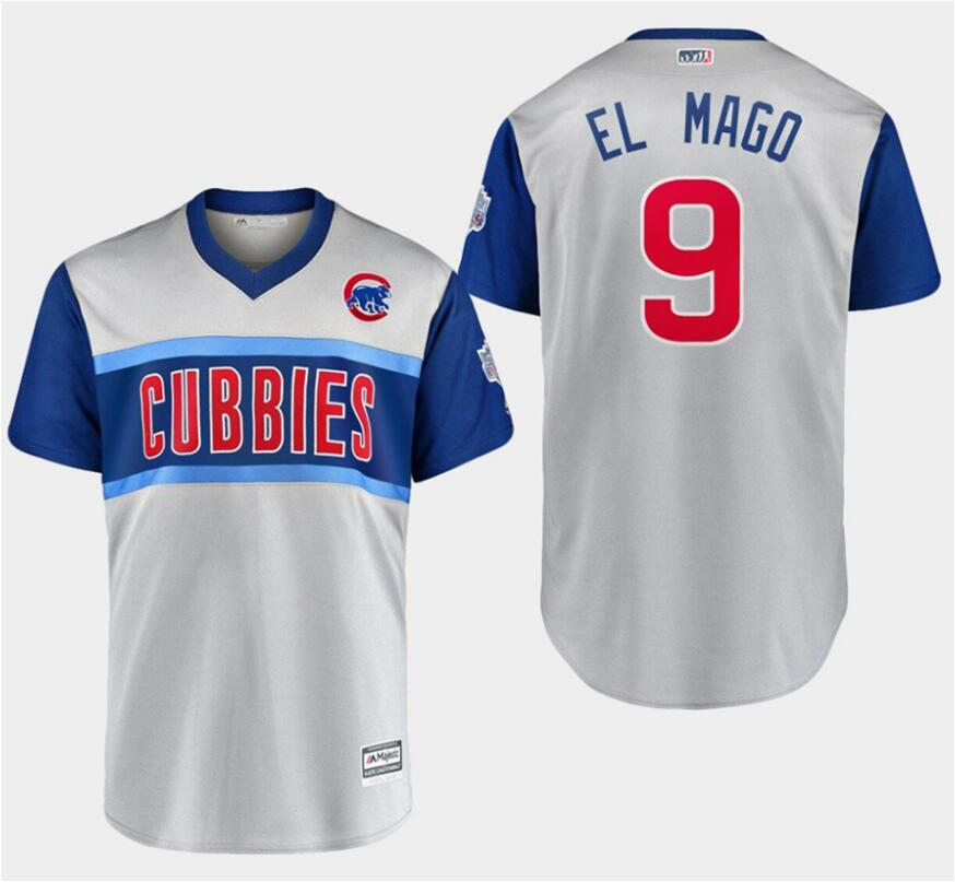 "Men's Chicago Cubs #9 Javier Baez ""El Mago"" Majestic Gray 2019 MLB Little League Classic Replica Player Stitched MLB Jersey"