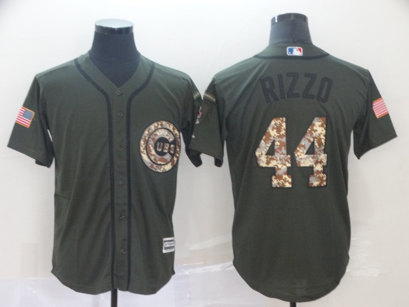 Men's Chicago Cubs #44 Anthony Rizzo Green Salute To Service Cool Base Stitched MLB Jersey