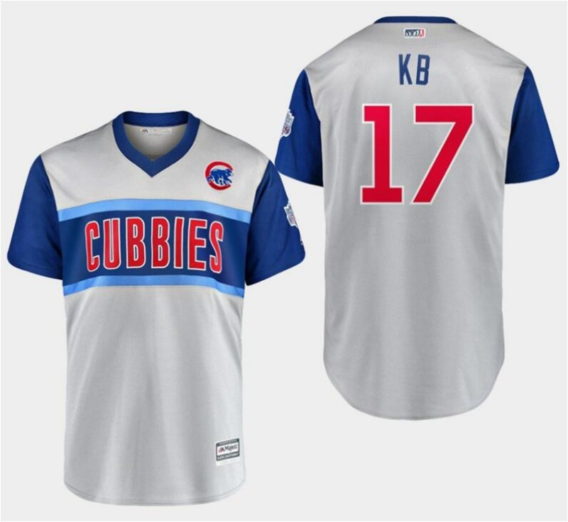 "Men's Chicago Cubs #17 Kris Bryant ""KB"" Majestic Gray 2019 MLB Little League Classic Replica Player Stitched MLB Jersey"