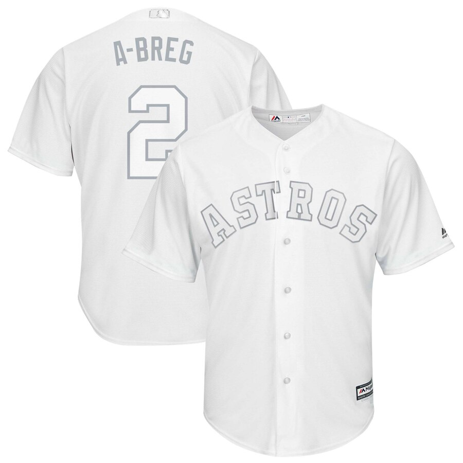 "Men's Houston Astros #2 Alex Bregman ""A-Breg"" Majestic White 2019 Players' Weekend Pick-A-Player Replica Roster Stitched MLB Jersey"