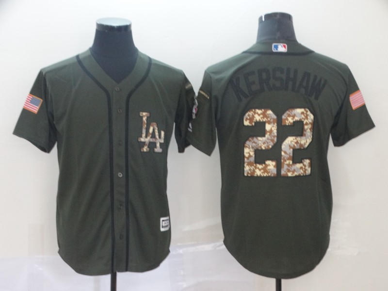 fad78ac71 Men s Los Angeles Dodgers  22 Clayton Kershaw Salute To Service Cool Base  Stitched MLB Jersey
