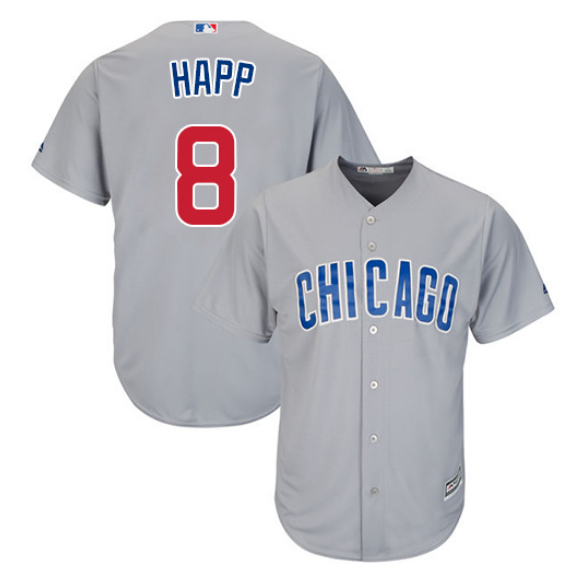 Men's Chicago Cubs #8 Ian Happ Replica Grey Cool Base Stitched Jersey