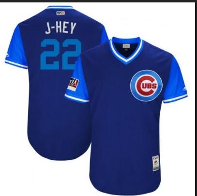 Men's Chicago Cubs #22 Jason Heyward Majestic Royal/Light Blue 2018 Players' Weekend Authentic Stitched MLB Jersey