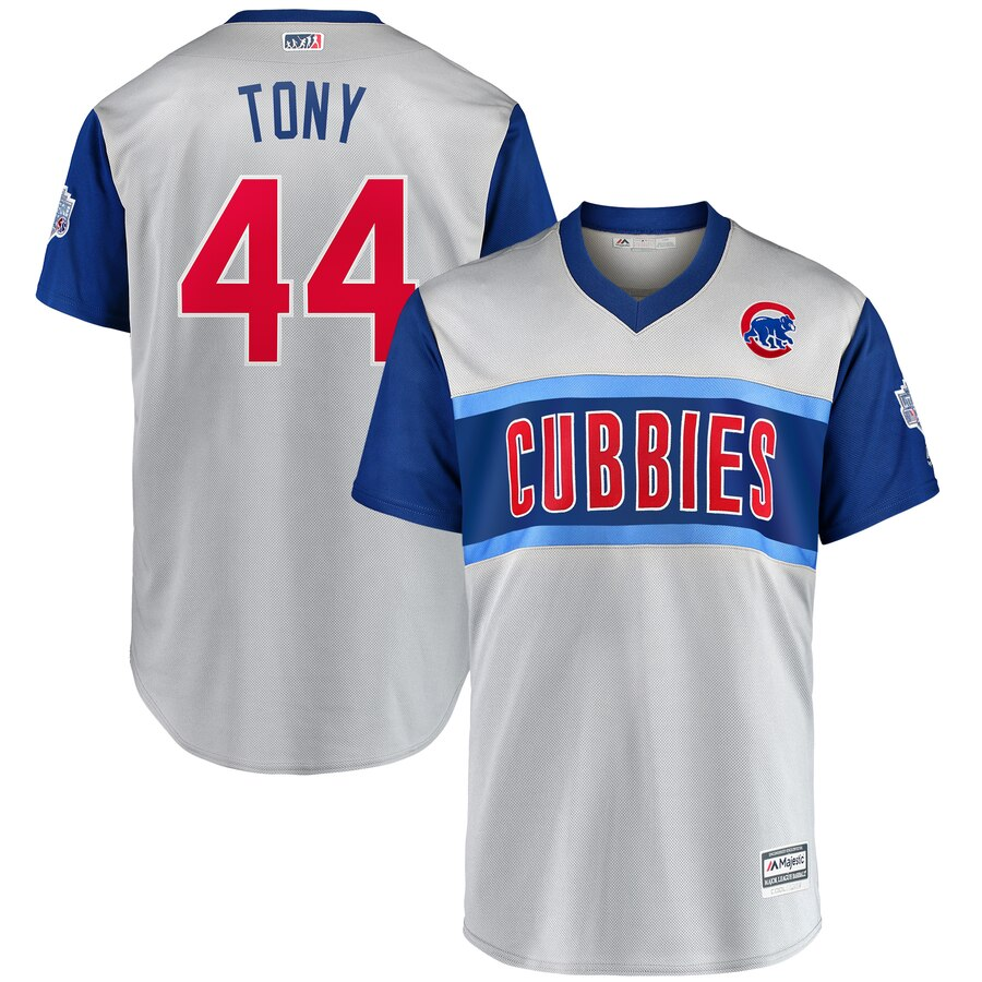 "Men's Chicago Cubs #44 Anthony Rizzo ""Tony"" Majestic Gray 2019 MLB Little League Classic Replica Player Stitched MLB Jersey"