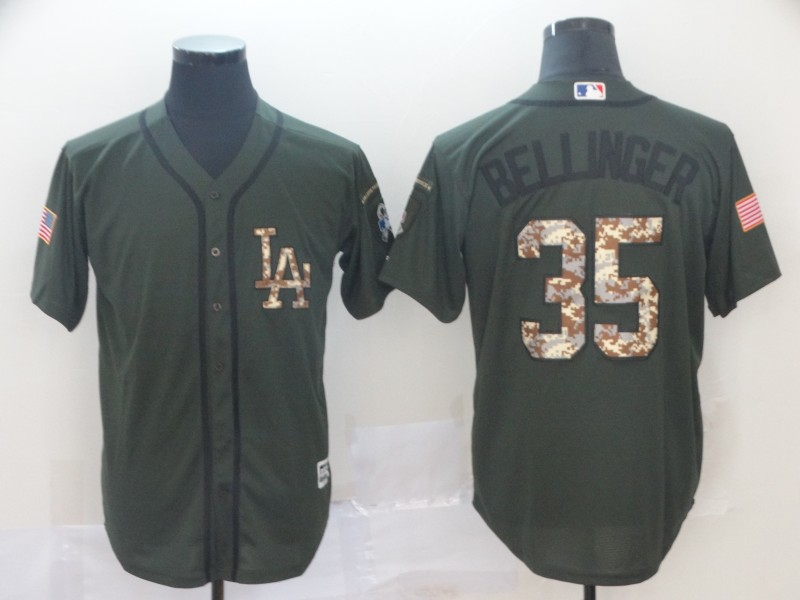 Men's Los Angeles Dodgers #35 Cody Bellinger Green Salute To Service Cool Base Stitched MLB Jersey