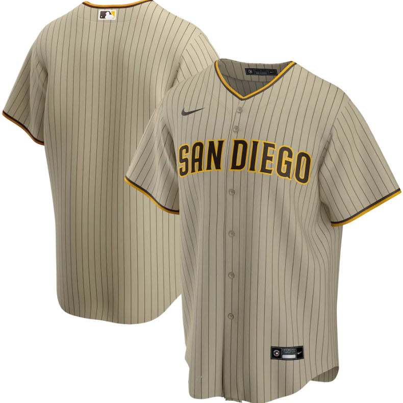 Men's San Diego Padres Blank Tan Brown Cool Base Stitched MLB Jersey