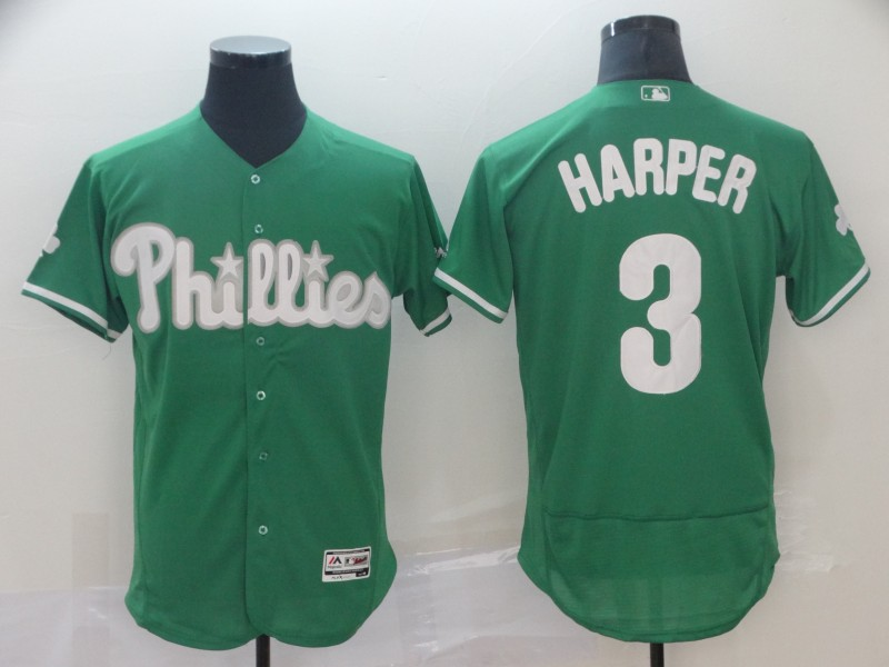 Men's Philadelphia Phillies #3 Bryce Harper Green Flex Base Stitched MLB Jersey