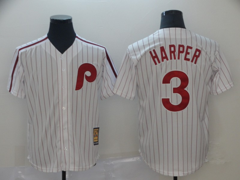 Men's Philadelphia Phillies #3 Bryce Harper White Throwback Stitched MLB Jersey