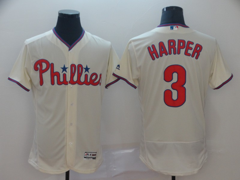 Men's Philadelphia Phillies #3 Bryce Harper Majestic White Flex Base Stitched MLB Jersey