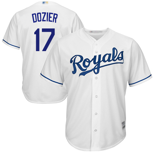 Men's Kansas City Royals #17 Hunter Dozier White Cool Base Stitched MLB Jersey