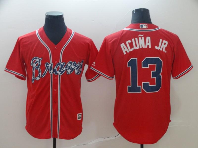 c2e4d503c7f Men's Atlanta Braves #13 Ronald Acuna Red Cool Base Stitched MLB Jersey
