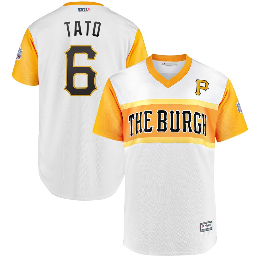 "Men's Pittsburgh Pirates #6 Starling Marte ""Tato"" Majestic White 2019 Little League Classic Replica Player Stitched MLB Jersey"