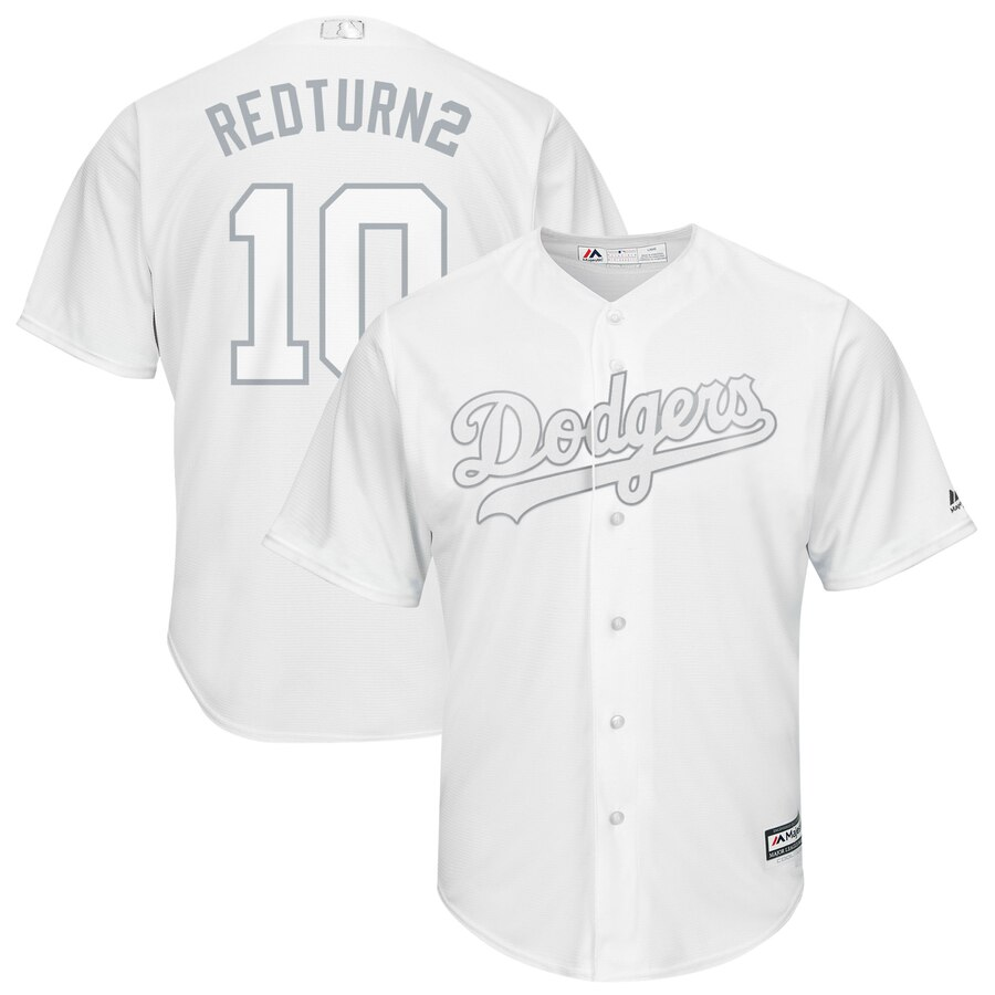 Men's Los Angeles Dodgers #10 Justin Turner Majestic White 2019 Players' Weekend Replica Player Stitched MLB Jersey