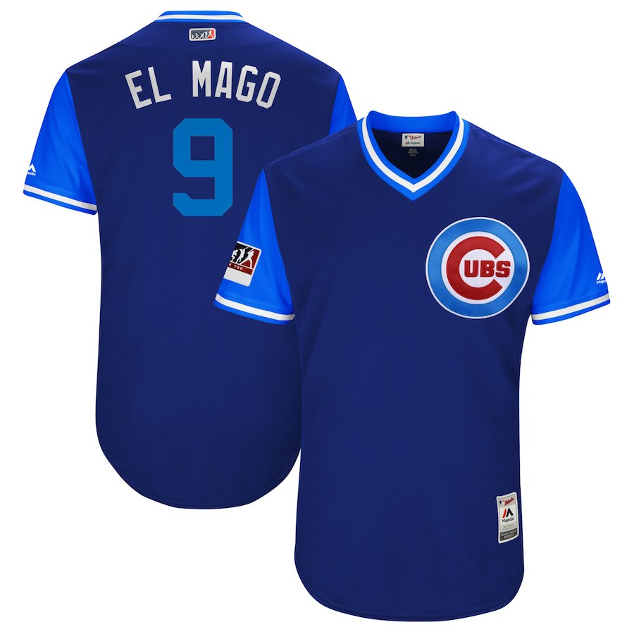 "Men's Chicago Cubs #9 Javier Baez ""El Mago"" Majestic Royal/Light Blue 2018 Players' Weekend Authentic Stitched MLB Jersey"