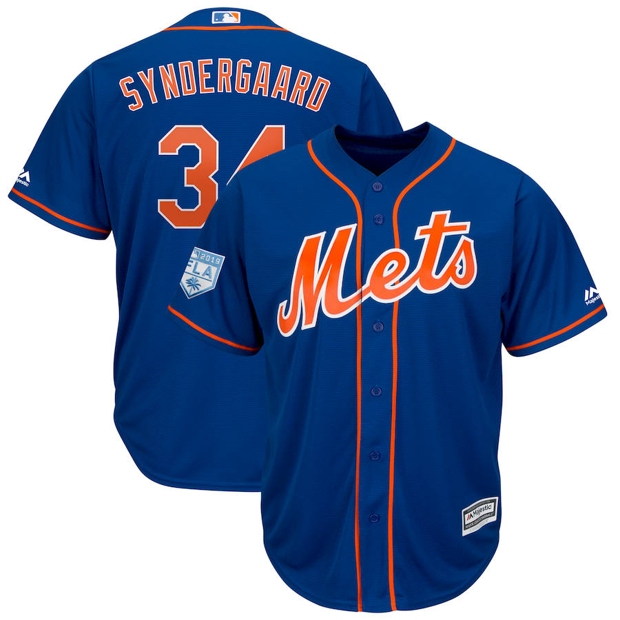 Men's New York Mets #34 Noah Syndergaard Blue 2019 Spring Training Cool Base Stitched MLB Jersey