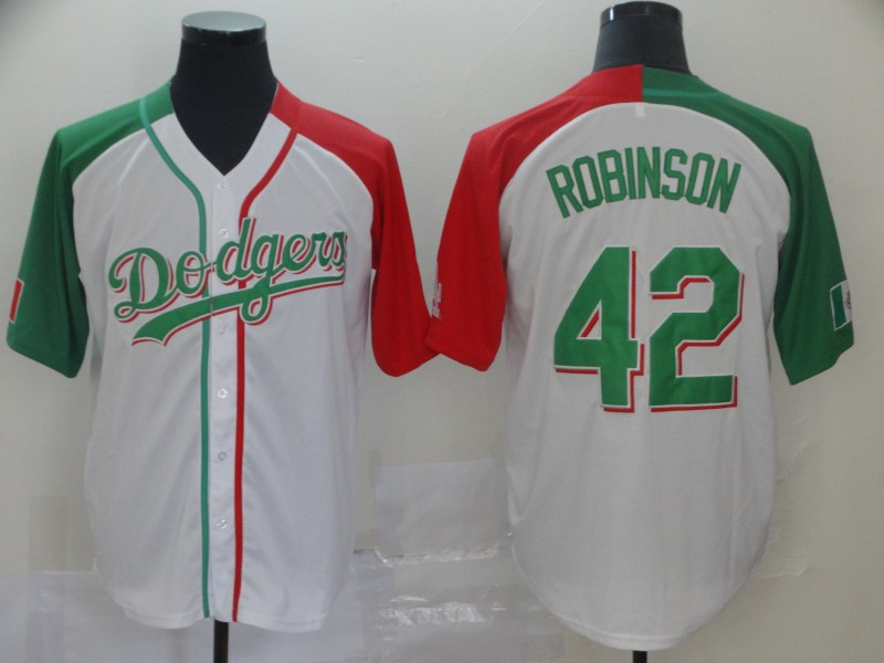 Men's Los Angeles Dodgers #42 Jackie Robinson Mexican Heritage Culture Night MLB Jersey