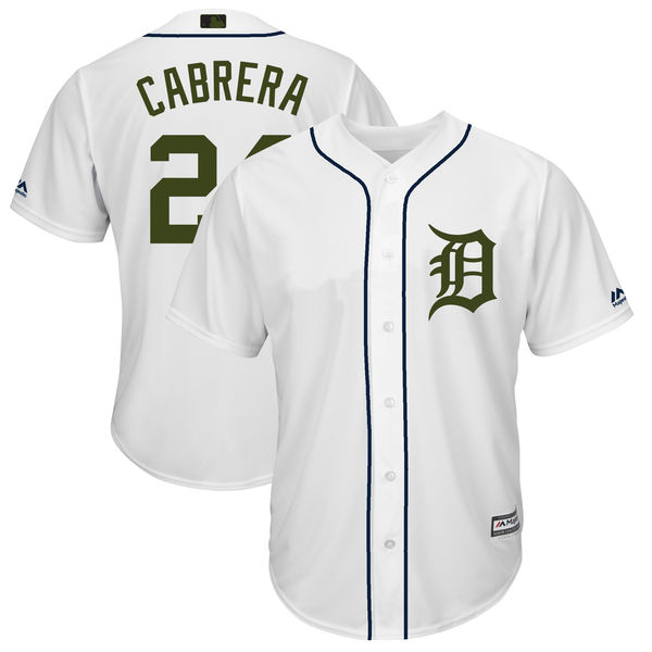 Men's Detroit Tigers #24 Miguel Cabrera White 2018 Memorial Day Cool Base Stitched MLB Jersey