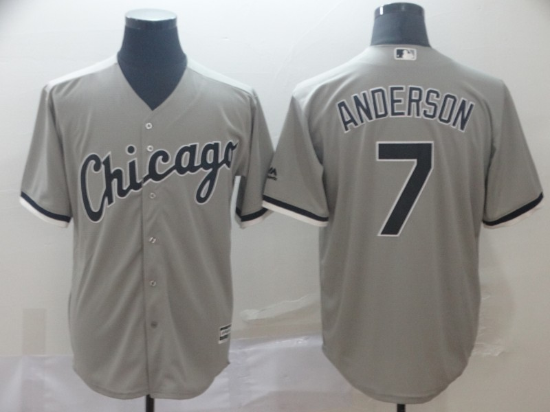 Men's Chicago White Sox #7 Tim Anderson Grey Cool Base Stitched MLB Jersey