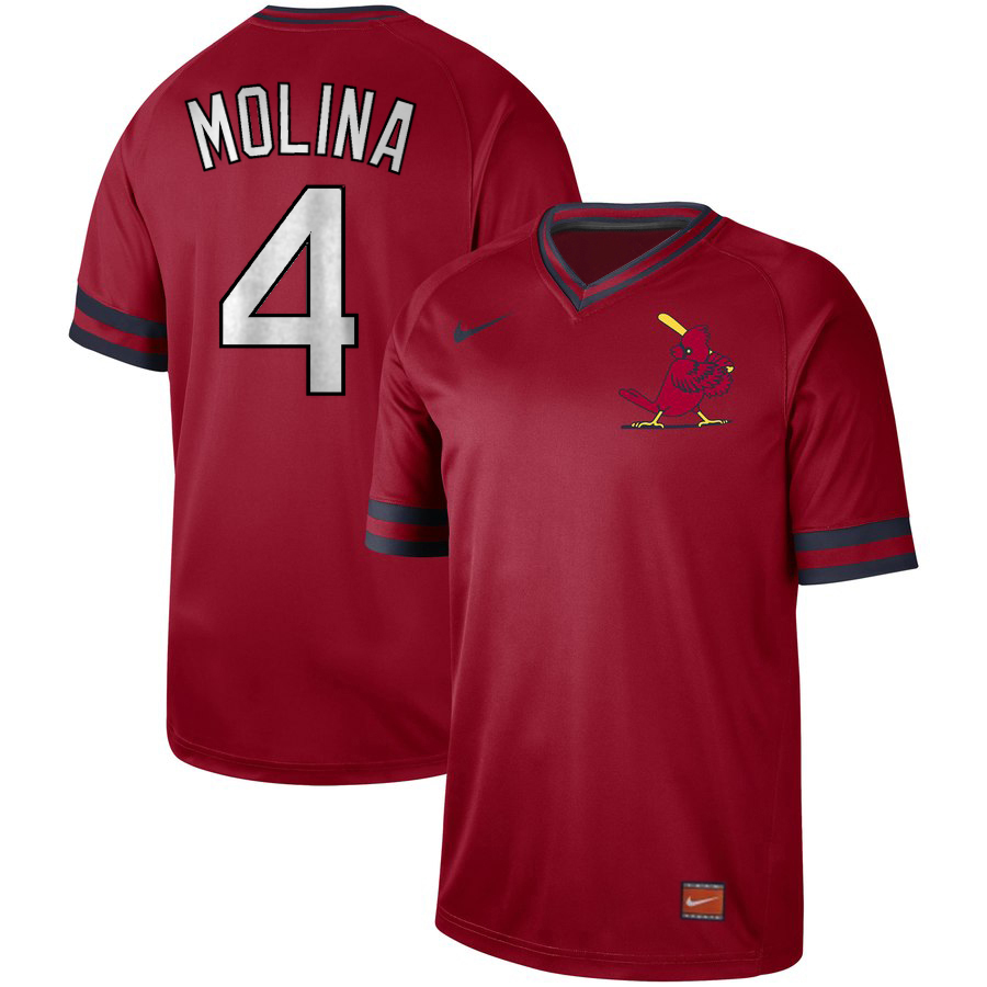Men's St. Louis Cardinals #4 Yadier Molina Red Cooperstown Collection Legend Stitched MLB Jersey