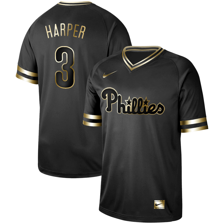 Men's Philadelphia Phillies #3 Bryce Harper Black Gold Stitched MLB Jersey