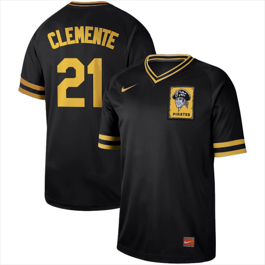 Men's Pittsburgh Pirates #21 Roberto Clemente Black Cooperstown Collection Legend Stitched MLB Jersey