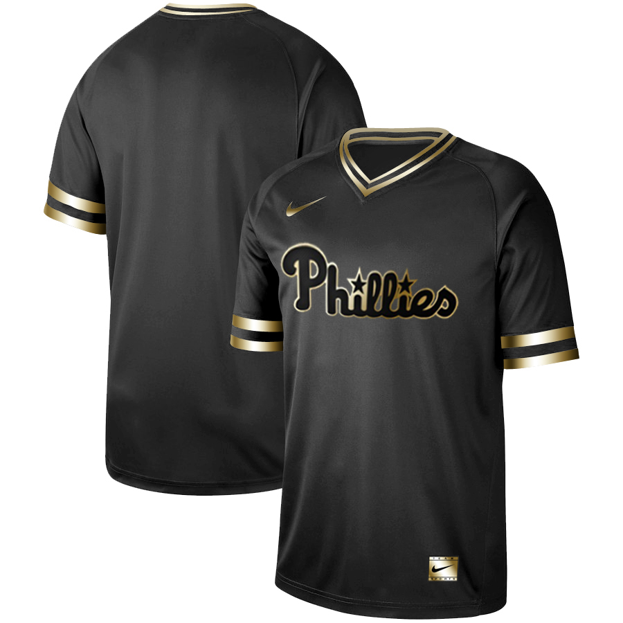 Men's Philadelphia Phillies Black Gold Stitched MLB Jersey