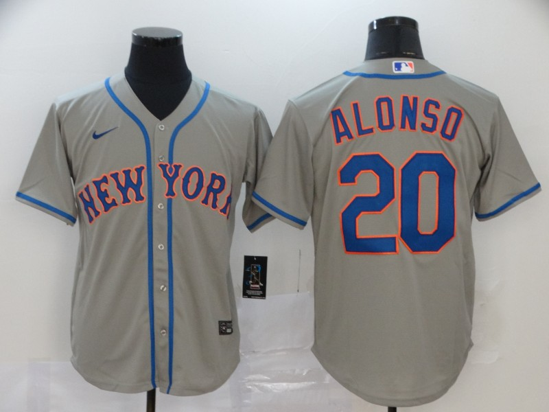 Men's New York Mets #20 Pete Alonso Grey Cool Base Stitched MLB Jersey
