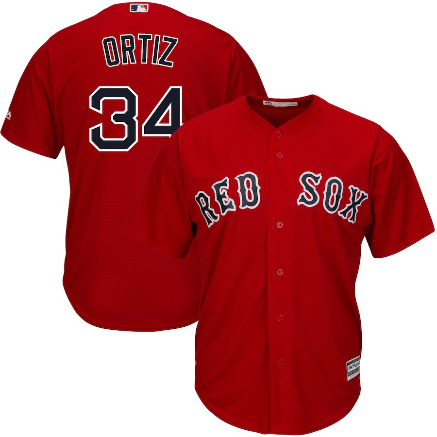 Men's Boston Red Sox #34 David Ortiz Majestic Scarlet Cool Base Player Stitched MLB Jersey