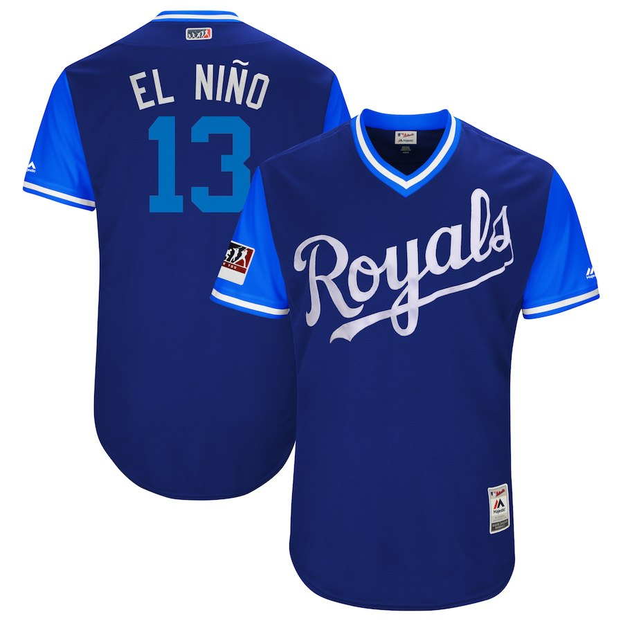 "Men's Kansas City Royals #13 Salvador Perez ""El Niño"" Majestic Royal/Light Blue 2018 Players' Weekend Authentic Stitched MLB Jersey"