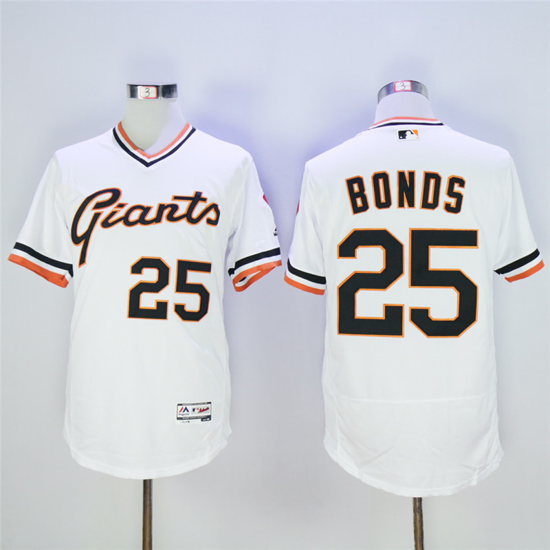 Men's San Francisco Giants #25 Barry Bonds White Throwback Flexbase Stitched MLB Jersey