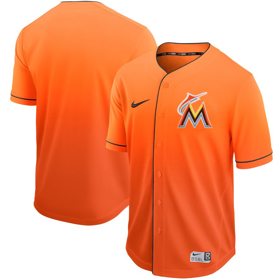 c738a64c Men's Miami Marlins Blank Yellow Fade Stitched MLB Jersey