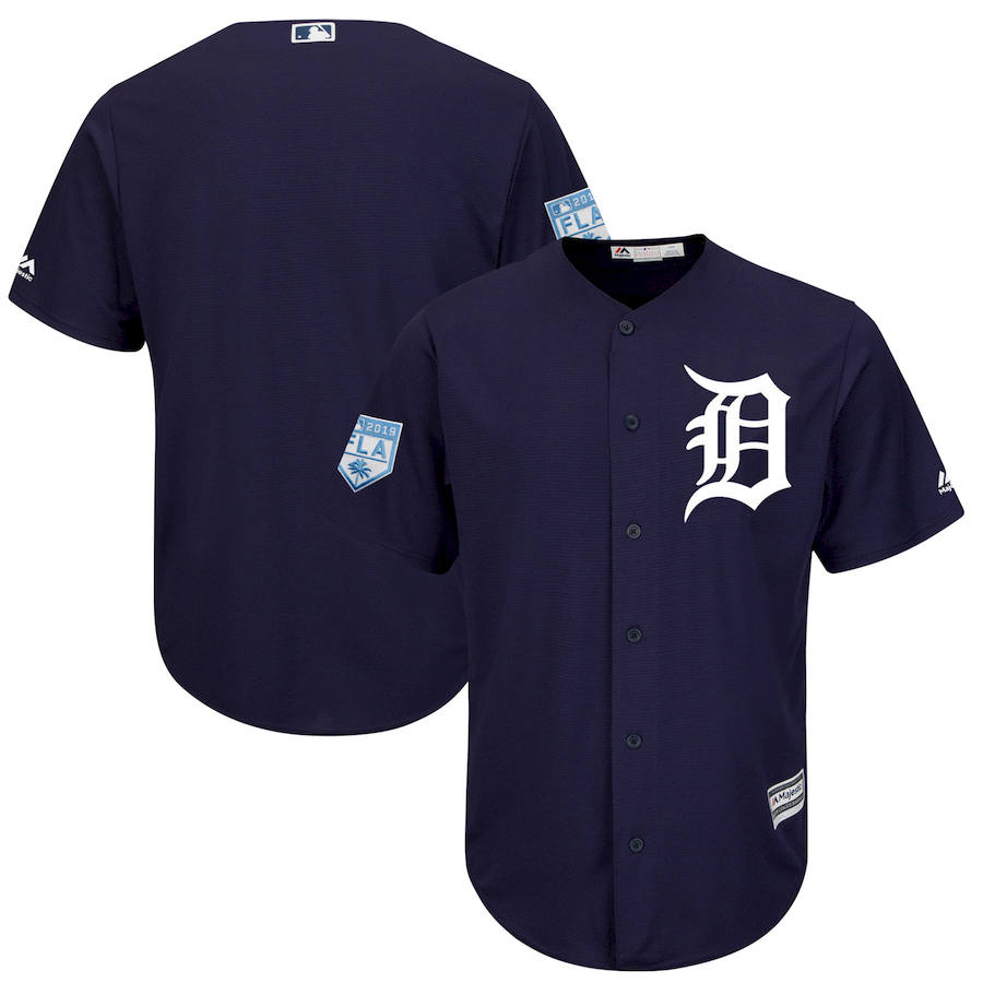 Men's Detroit Tigers Blank Navy 2019 Spring Training Cool Base Stitched MLB Jersey