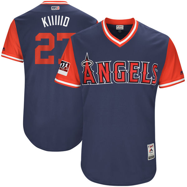 "Men's Los Angeles Angels #27 Mike Trout ""Kiiiiid"" Majestic Navy/Red 2018 Players' Weekend Authentic Stitched MLB Jersey"