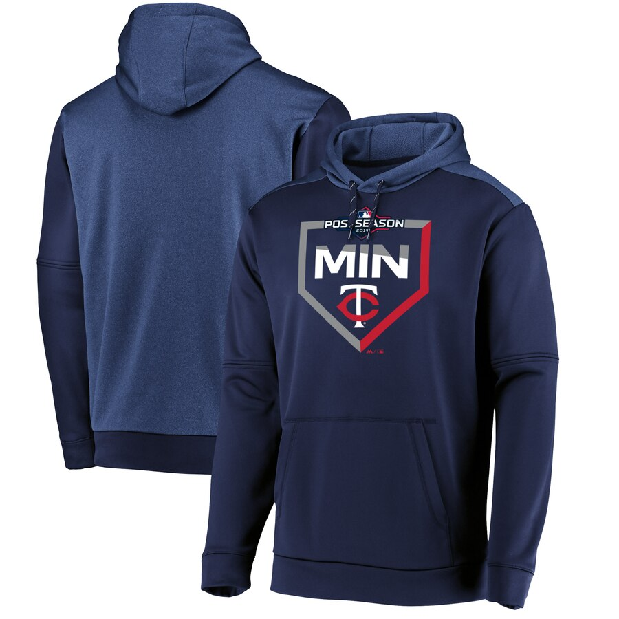 Men's Minnesota Twins Majestic Navy 2019 Postseason Dugout Pullover Hoodie