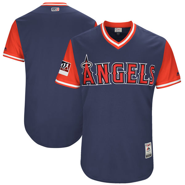 Men's Los Angeles Angels Majestic Navy/Red 2018 Players' Weekend Authentic Team Stitched MLB Jersey