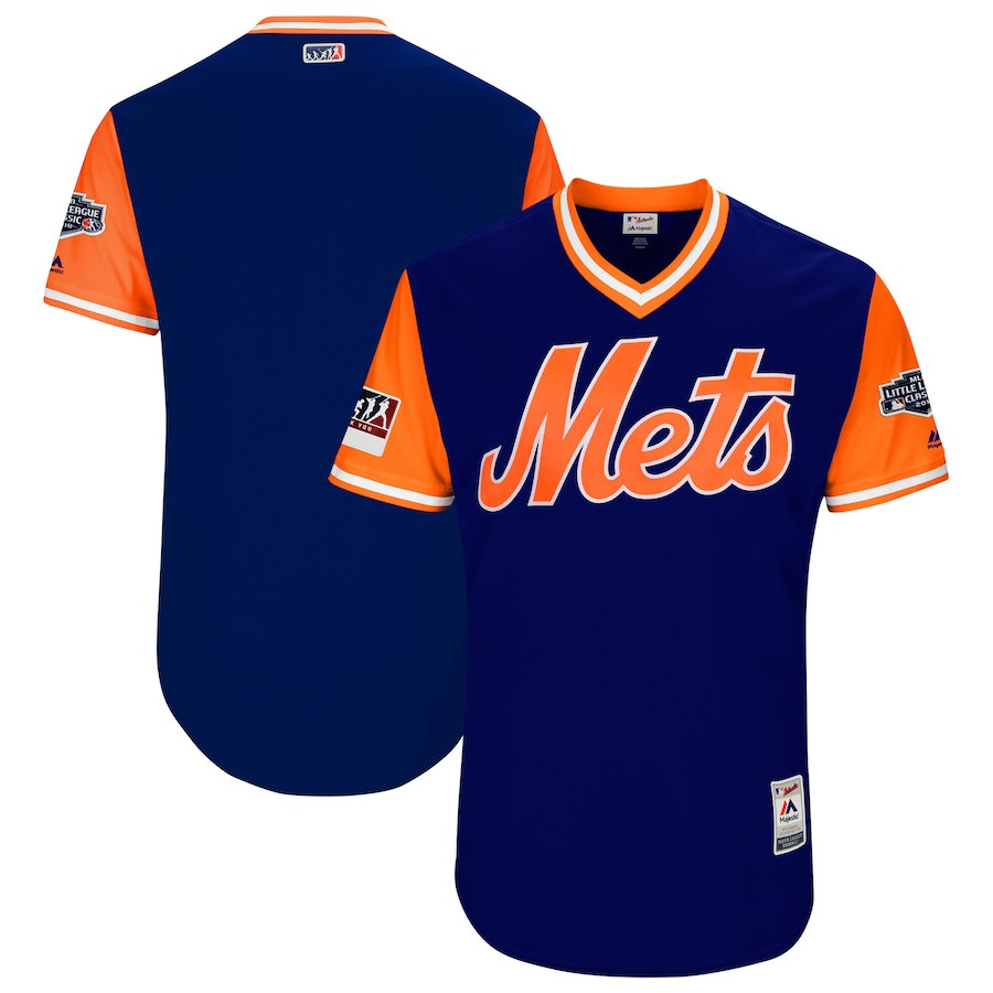 Men's New York Mets Majestic Royal/Orange 2018 MLB Little League Classic Team Stitched MLB Jersey