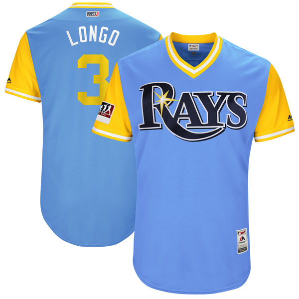 "Men's Tampa Bay Rays #3 Evan Longoria ""Longo"" Majestic Light Blue/Yellow 2017 Little League World Series Players Weekend Classic Stitched MLB Jersey"